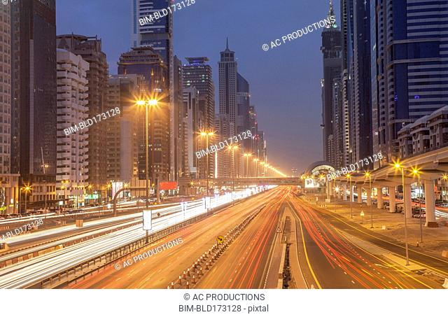 Traffic in Dubai cityscape, Dubai Emirate, United Arab Emirates