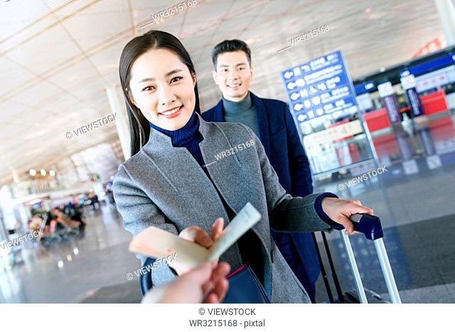 Business men and women at the airport