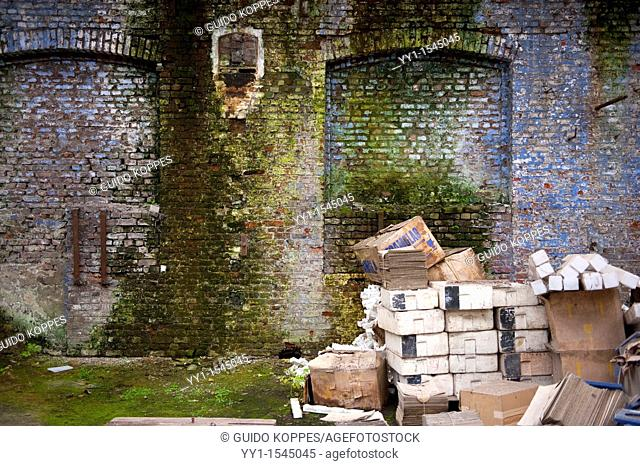 Val Saint Lambert, Belgium. Left behind wooden boxes and crates in an abandoned factory for luxurious crystal products