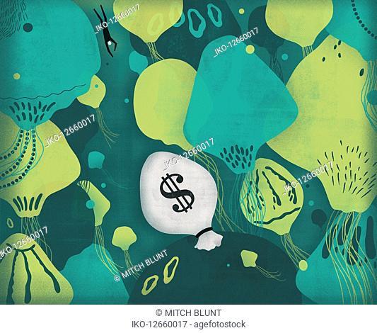 Man swimming through jellyfish towards dollar money bag in sea