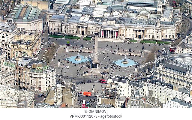 Aerial view of Nelson's Column, Trafalgar Square and National Gallery