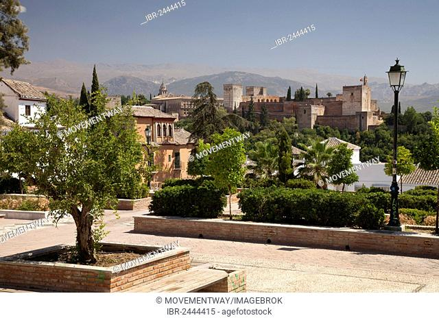 View from the Albayzin district towards the Alhambra, Granada, Andalucia, Spain, Europe, PublicGround