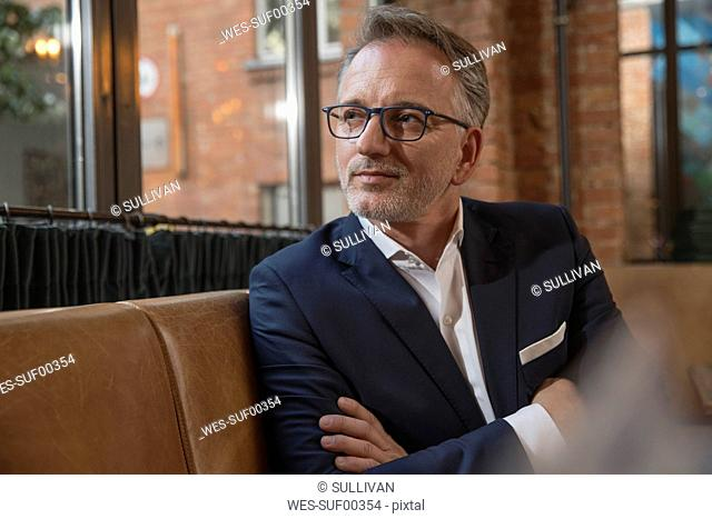 Portrait of businessman waiting in a restaurant