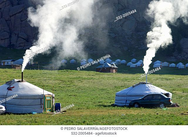 Mongolian gers in Gorkhi Terelji National Park, Mongolia