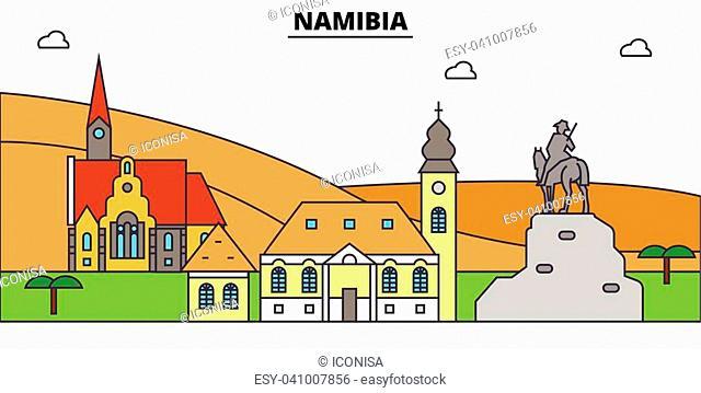 Namibia outline city skyline, linear illustration, line banner, travel landmark, buildings silhouette,vector