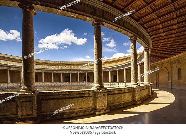 Inner circular courtyard. Palacio de Carlos V. Palace of Charles V. Alhambra, UNESCO World Heritage Site. Granada City. Andalusia, Southern Spain Europe