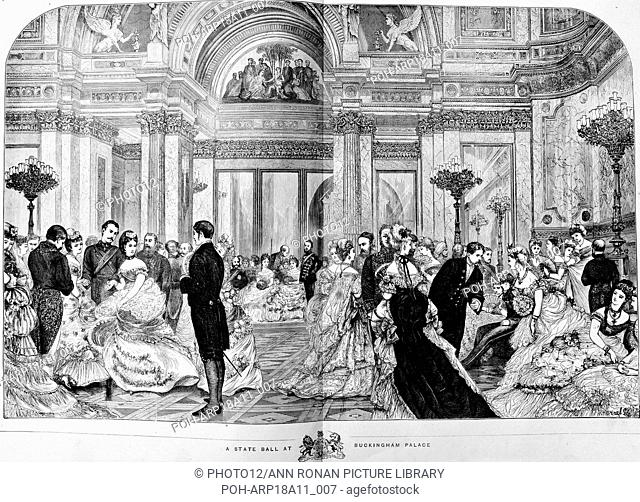 Engraving depicts a state ball at Buckingham Palace. Dated 1870