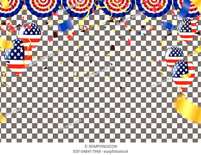 USA Independence day poster with air balloons and with a garland from American flags. American Memorial Day celebration poster, vector illustration