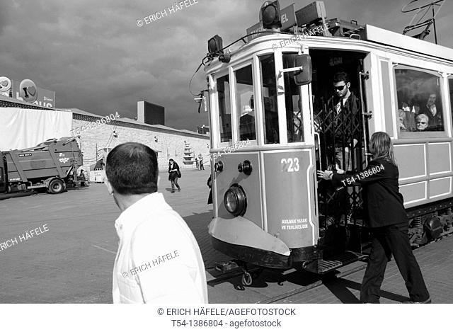 Historical Tram in Istanbul-Taksim Square