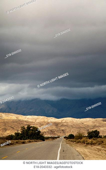 USA, California, Palm Springs. Straight desert road heading into the Anza-Borrego State Park