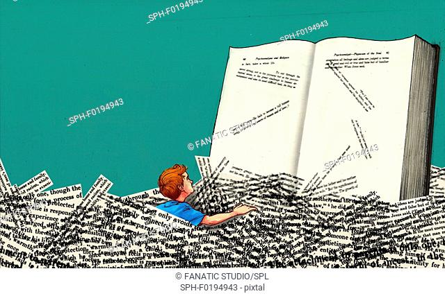 Illustration of boy in heap of papers reading book