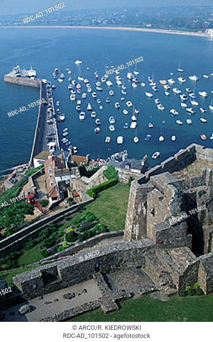 View from Mont Orgueil castle on harbour Gorey Jersey Channel Islands Great Britain