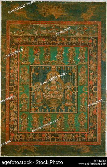 Mandala of Hannya Bosatsu. Period: Nanbokucho period (1336-92); Date: 14th century; Culture: Japan; Medium: Hanging scroll; ink, color, gold