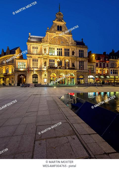 Belgium, Ghent, Sint-Baafsplein with theater at dusk