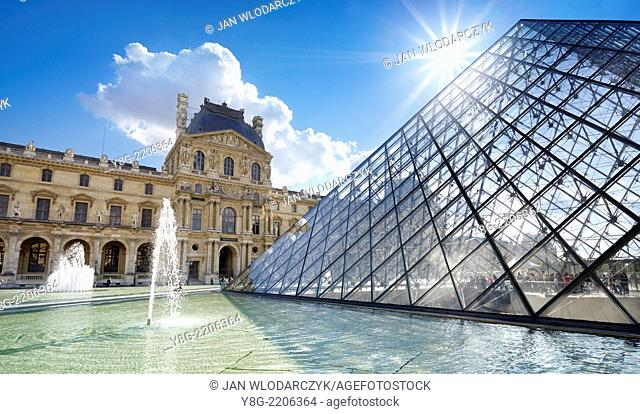 Glass pyramid Louvre Museum, Paris, France