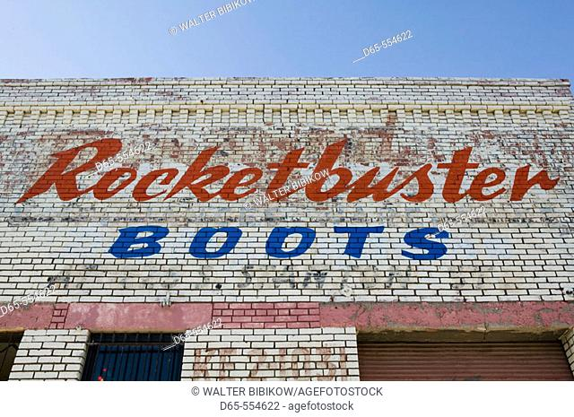 Sign for World Famous Rocketbuster Boot shop (makers of cowboy boots to the stars). El Paso.Texas, USA