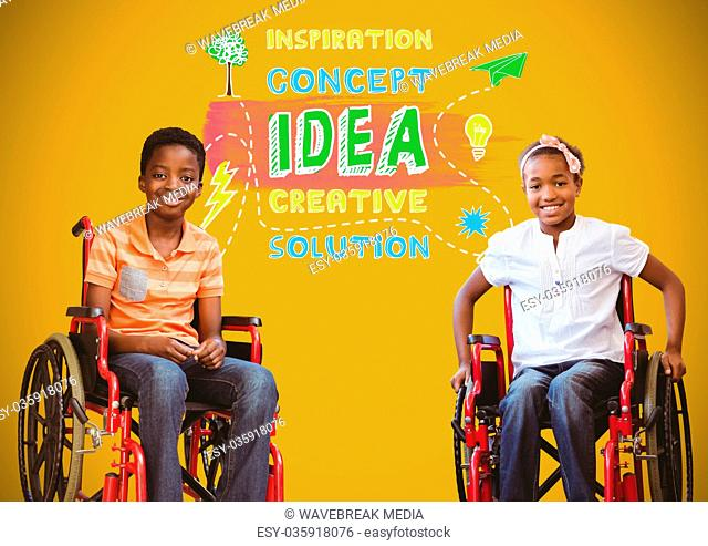 Disabled boys in wheelchairs with colorful idea concept graphics