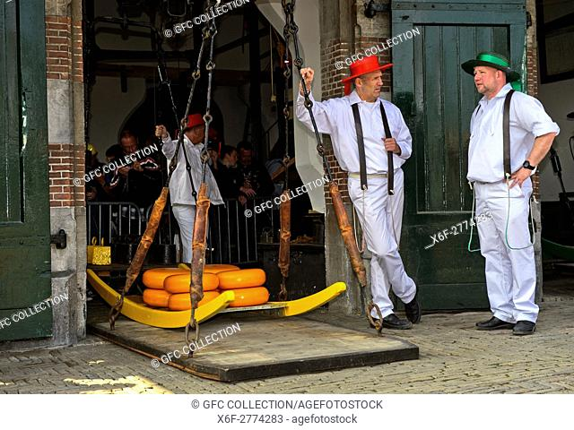 Guild cheese porters at the cheese balance, cheese market of Alkmaar, Netherlands