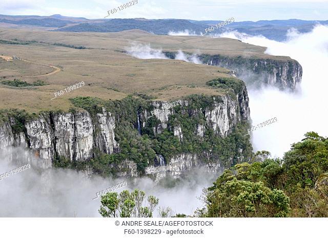 Clouds sweep into Fortaleza Canyon in the early morning, Cambara do Sul, Rio Grande do Sul, Brazil