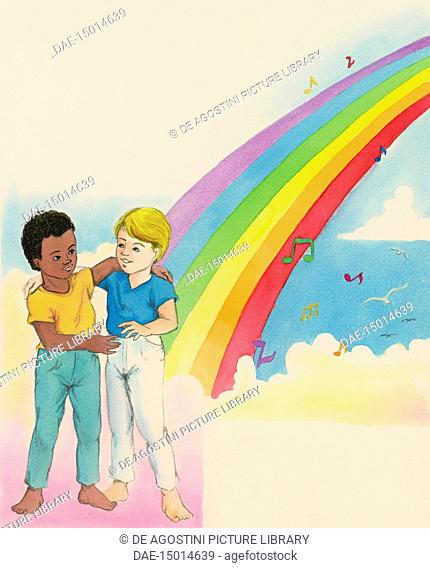 Boy and little girl hugging under the rainbow of Peace, children's illustration, drawing