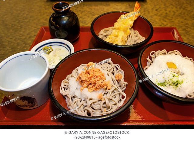 Soba noodle sampler meal at a restaurant in Ikegami, Tokyo, Japan
