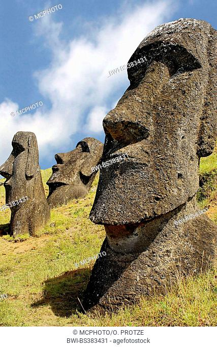 Moai statues, Chile, Rapa Nui National Park