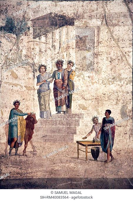 The scene has a pyramidal structure: at the top of a staircase in his palace of Iolkos, figure of King Pelias accompanied by his daughters