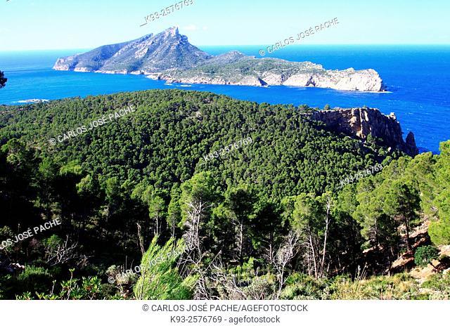 Isla de la Dragonera from la Trapa, Mallorca, Balearic Islands, Spain