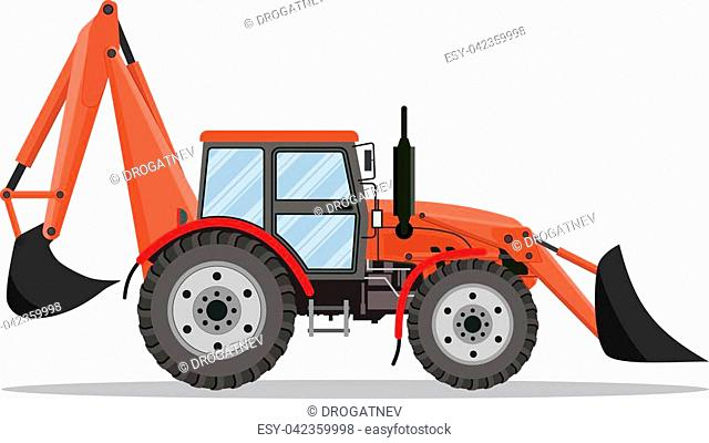 red Tractor, excavator, bulldozer icon isolated on white background. Vector illustration in flat design