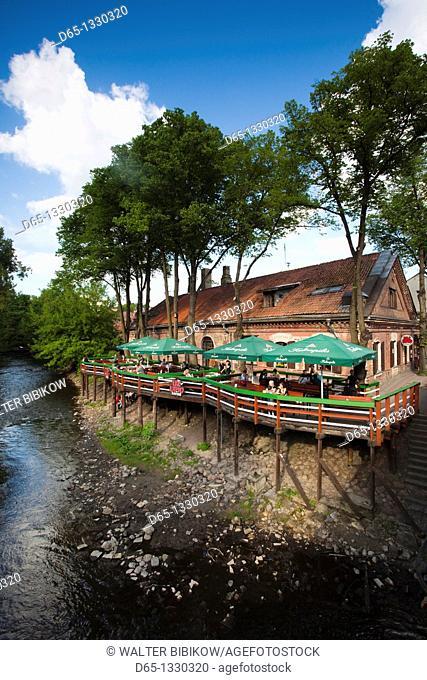 Lithuania, Vilnius, Uzupis Area, Bohemian Vilnius, Republic of Uzupis riverfront cafes