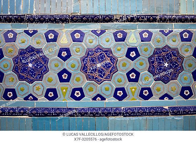 Detail, ornamentation, Ulug Sultan Begim mausoleum, Shah-i-Zinda complex, Samarkand, Uzbekistan