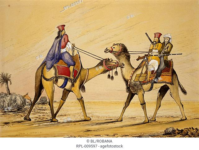 Two camels with Sindhi riders, a European seated behind one of them. Inscribed on back in ink: 'Camel travelling in Sindh 1852'. Watercolour