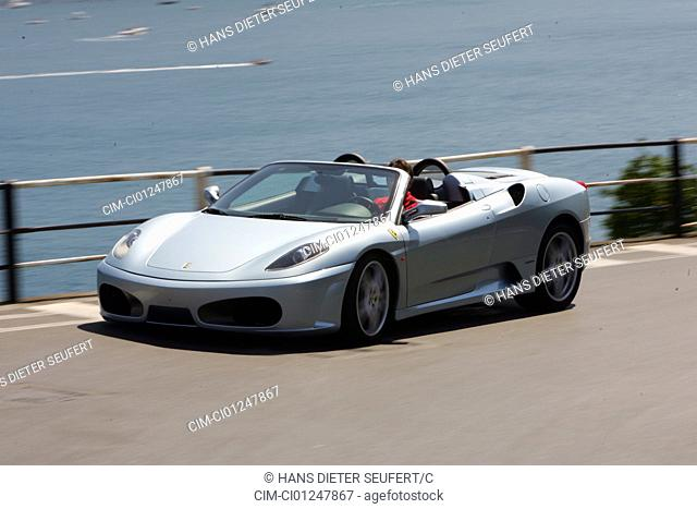 Car, Ferrari F430 Spider F1, model year 2005-, silver, Convertible, driving, diagonal from the front, frontal view, country road, open top, landsapprox