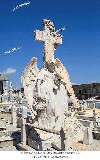 Statue of Archangel (foreground), La Reina Cemetery, Cienfuegos City, UNESCO World Heritage Site, Cienfuegos, Cuba