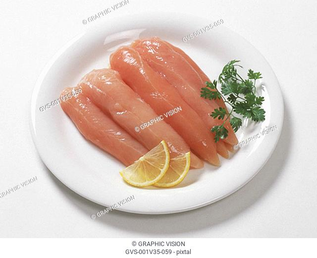 Plate of Uncooked Sliced Chicken