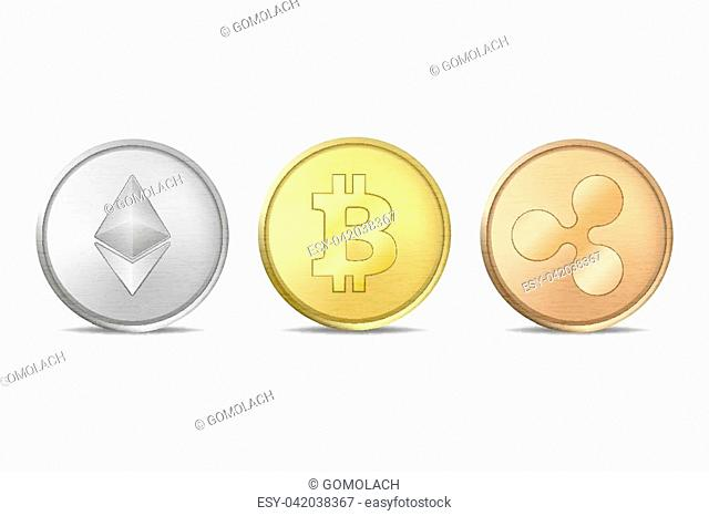 Realistic vector crypto coin icon set. Bitcoin, Etherium, Ripple. Blockchain technology. Closeup isolated on white background