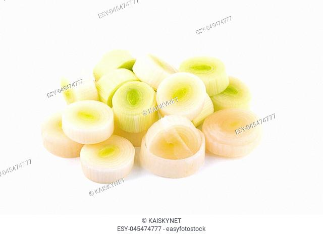 Fresh green leek chopped rings isolated on a white background