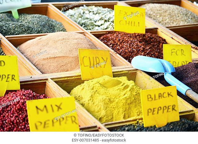 Variety of spices in the store