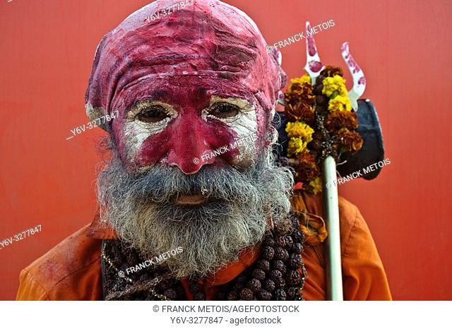 "Portrait of a hindu ascetic (""""sadhu"""") ( Allahabad, India)"