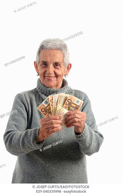 senior woman with banknotes