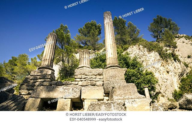 Temple of Valetudo in Glanum. Saint Remy de Provence, Bouches du Rhone, Provence, France
