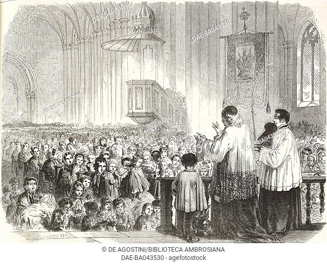Blessing children in the church on Easter Monday, Vosges, France, illustration from L'Illustration, Journal Universel, No 633, Volume XXV, April 14, 1855