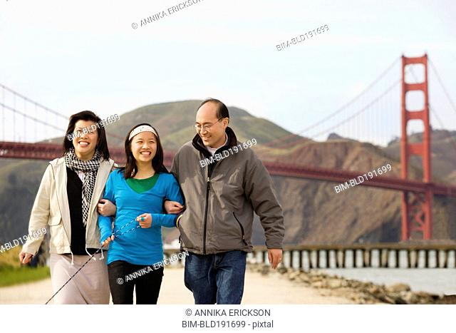 Chinese family walking