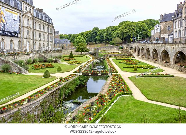 VANNES, BRITTANY, FRANCE - JULY 2015:, BRITTANY, FRANCE: View of the canal and Gardens of Ramparts de Vannes