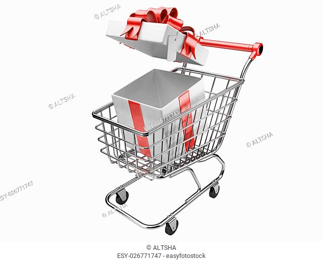 Shopping cart with open gifts boxes. isolated on a white background 3d image