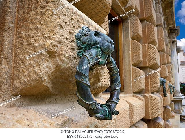 Alhambra lion holding ring in Carlos V of Granada Spain