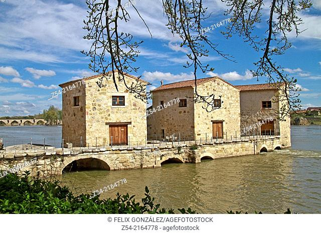 Water mills of Olivares, Duero River, Zamora, Castile and Leon, Spain