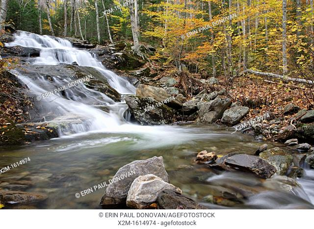 Stark Falls which are located along Stark Falls Brook in Woodstock, New Hampshire USA during the autumn months