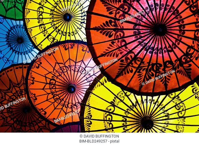 Multicolor open umbrellas