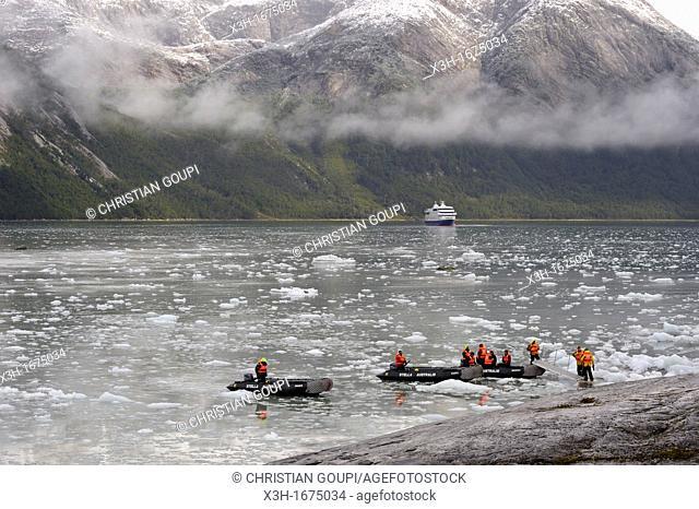 the Cruise Ship Stella Australis near the Pia Glacier, Cordillera Darwin, Beagle Channel Northeast branch, Tierra del Fuego, Patagonia, Chile, South America